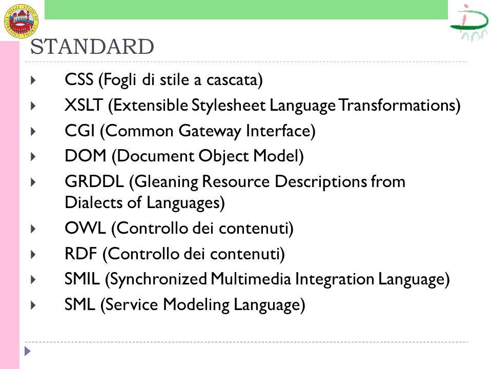 STANDARD SOAP(Simple Object Access Protocol) PICS (Platform for Internet Content Selection) WAI (Linee guida per l accessibilità) DOM (Linee guida per l interfaccia) PICS (Linee guida per le piattaforme) POWDER (Protocol for Web Description Resources) PNG (formato grafico) InkML (formato per inchiostro digitale)
