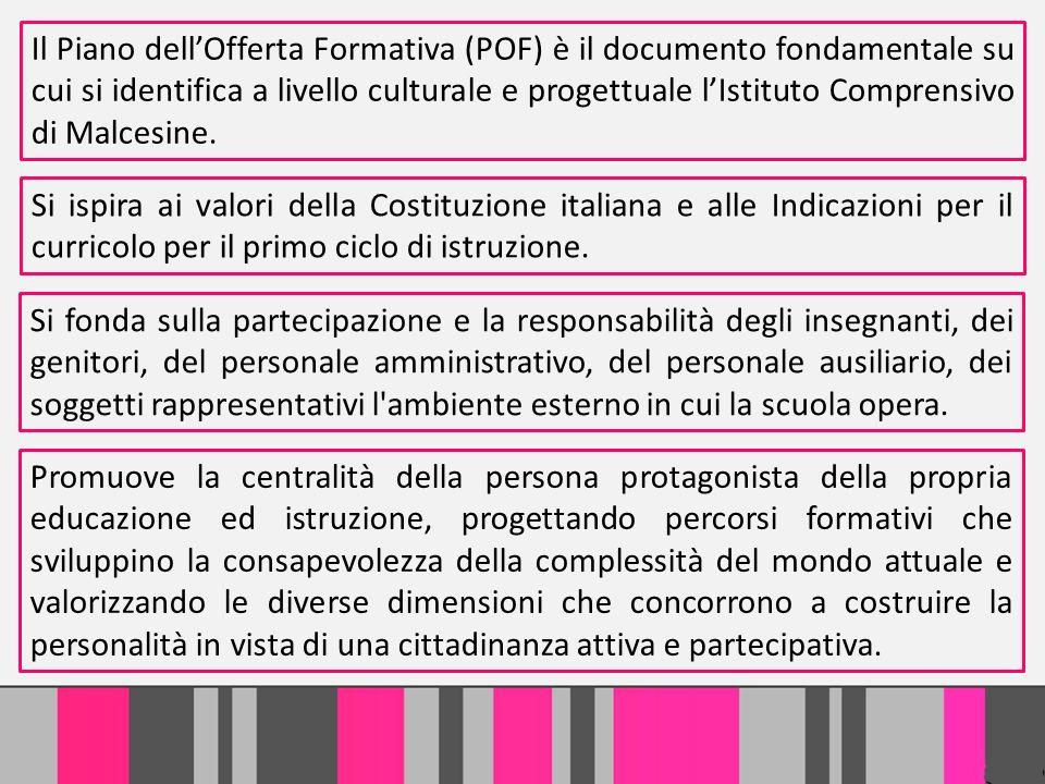 Il Piano dellOfferta Formativa (POF) è il documento fondamentale su cui si identifica a livello culturale e progettuale lIstituto Comprensivo di Malce
