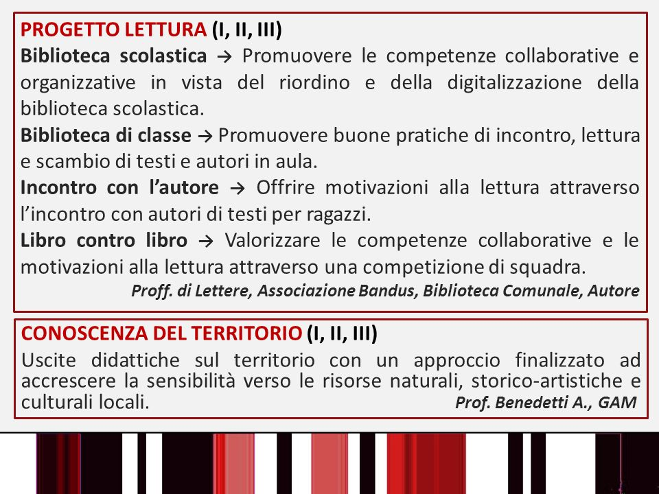 PROGETTO LETTURA (I, II, III) Biblioteca scolastica Promuovere le competenze collaborative e organizzative in vista del riordino e della digitalizzazi