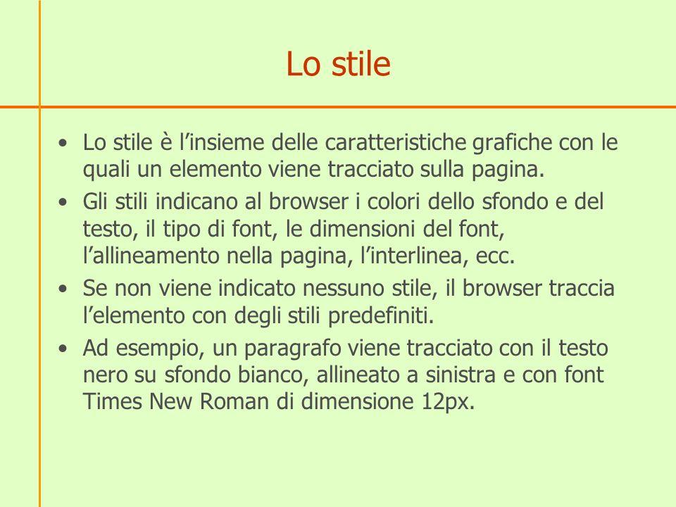 Lo stile Lo stile è linsieme delle caratteristiche grafiche con le quali un elemento viene tracciato sulla pagina. Gli stili indicano al browser i col