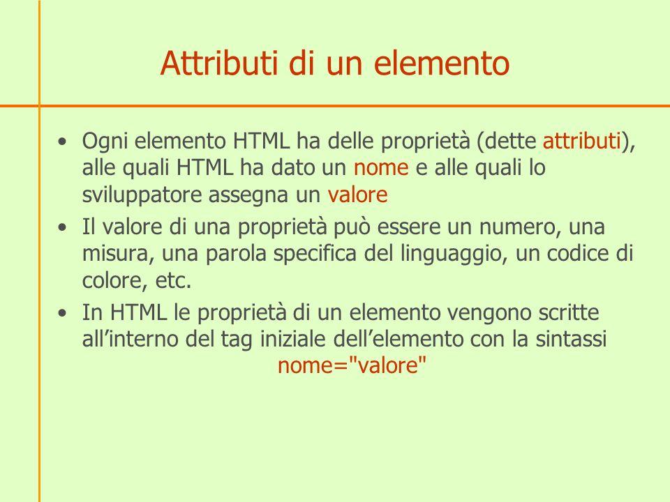 Attributi di un elemento Ogni elemento HTML ha delle proprietà (dette attributi), alle quali HTML ha dato un nome e alle quali lo sviluppatore assegna