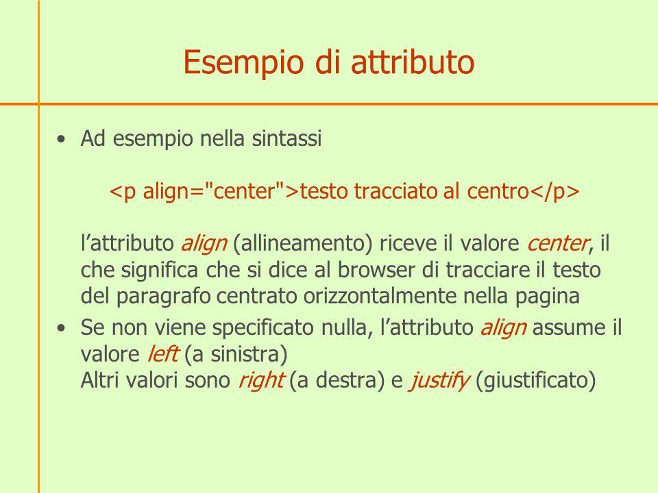 Esempio di attributo Ad esempio nella sintassi testo tracciato al centro lattributo align (allineamento) riceve il valore center, il che significa che