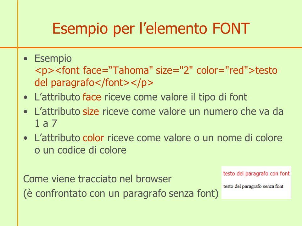 Esempio per lelemento FONT Esempio testo del paragrafo Lattributo face riceve come valore il tipo di font Lattributo size riceve come valore un numero
