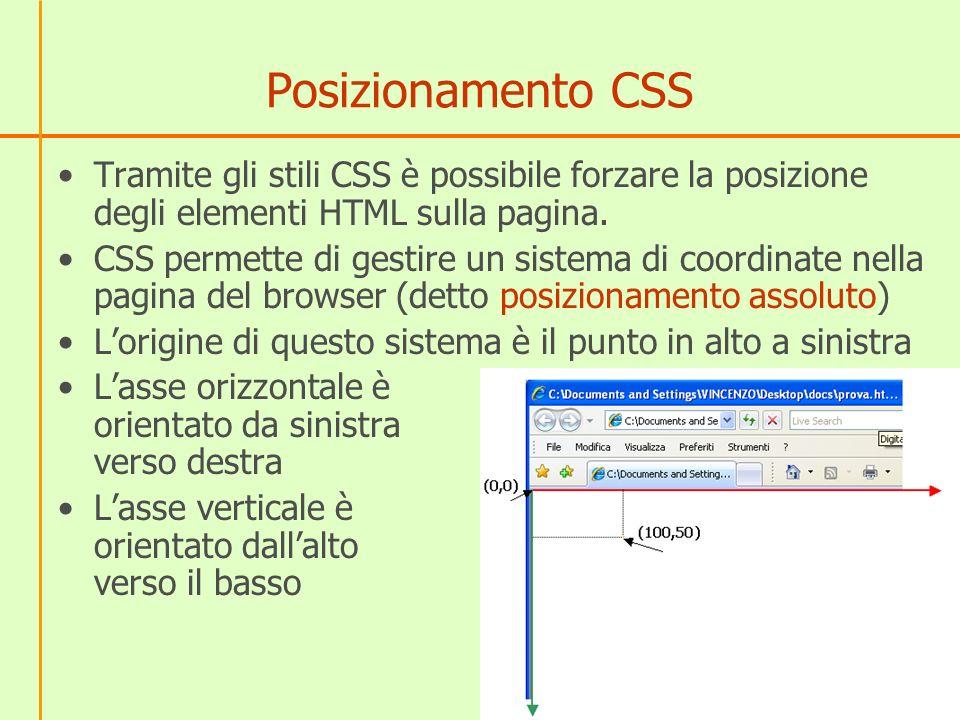 Posizionamento CSS Tramite gli stili CSS è possibile forzare la posizione degli elementi HTML sulla pagina. CSS permette di gestire un sistema di coor
