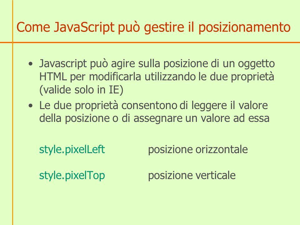 Come JavaScript può gestire il posizionamento Javascript può agire sulla posizione di un oggetto HTML per modificarla utilizzando le due proprietà (va