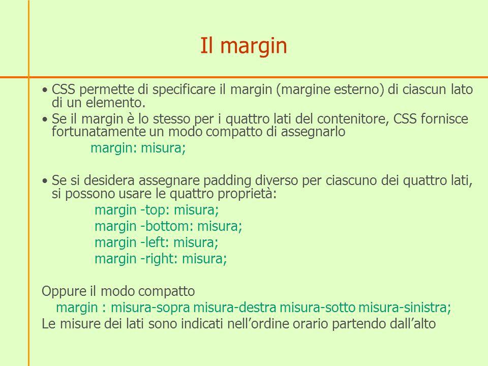 Il margin CSS permette di specificare il margin (margine esterno) di ciascun lato di un elemento.