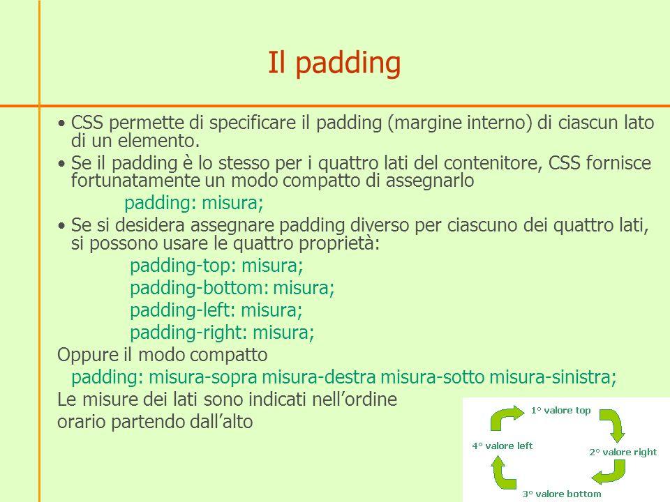 Il padding CSS permette di specificare il padding (margine interno) di ciascun lato di un elemento.