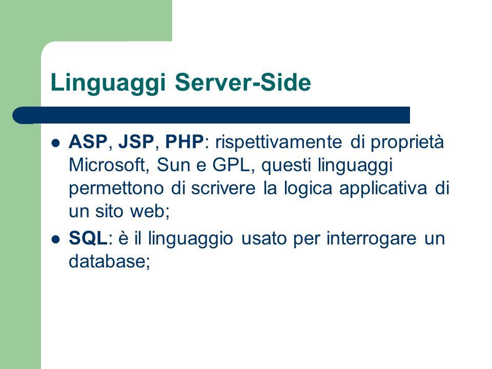 Linguaggi Server-Side ASP, JSP, PHP: rispettivamente di proprietà Microsoft, Sun e GPL, questi linguaggi permettono di scrivere la logica applicativa