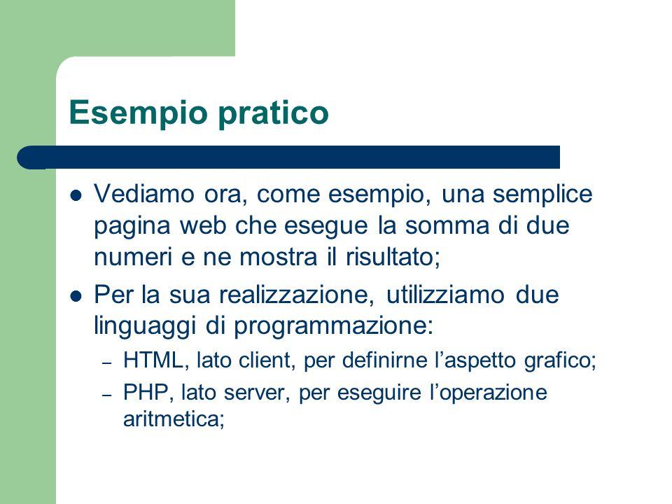 Esempio pratico Vediamo ora, come esempio, una semplice pagina web che esegue la somma di due numeri e ne mostra il risultato; Per la sua realizzazion