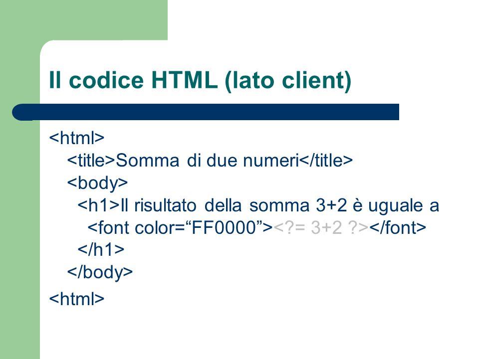Il codice HTML (lato client) Somma di due numeri Il risultato della somma 3+2 è uguale a