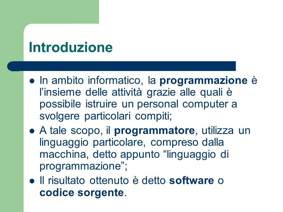 Introduzione In ambito informatico, la programmazione è linsieme delle attività grazie alle quali è possibile istruire un personal computer a svolgere