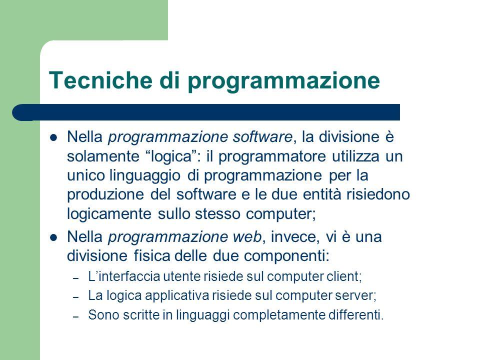 Tecniche di programmazione Nella programmazione software, la divisione è solamente logica: il programmatore utilizza un unico linguaggio di programmaz