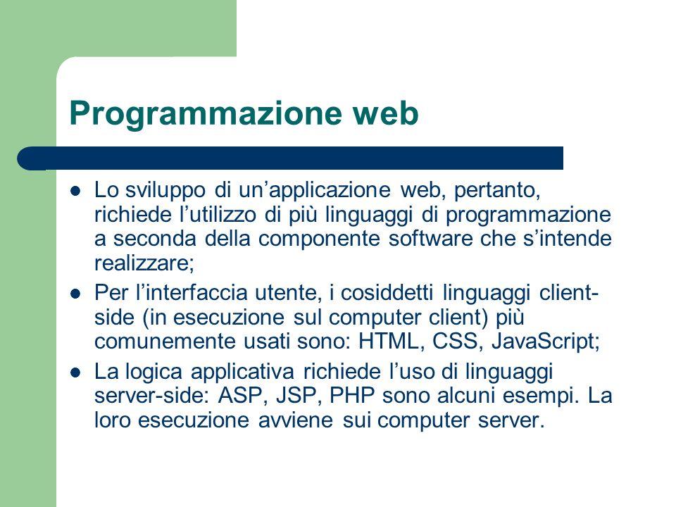 Programmazione web Lo sviluppo di unapplicazione web, pertanto, richiede lutilizzo di più linguaggi di programmazione a seconda della componente softw