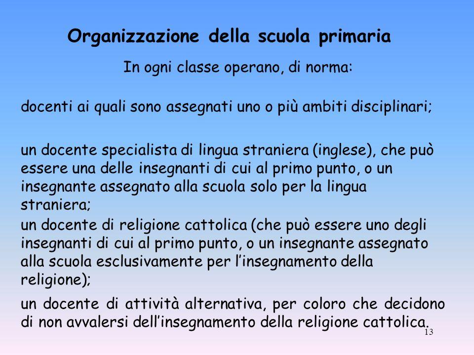 13 Organizzazione della scuola primaria un docente di attività alternativa, per coloro che decidono di non avvalersi dellinsegnamento della religione cattolica.