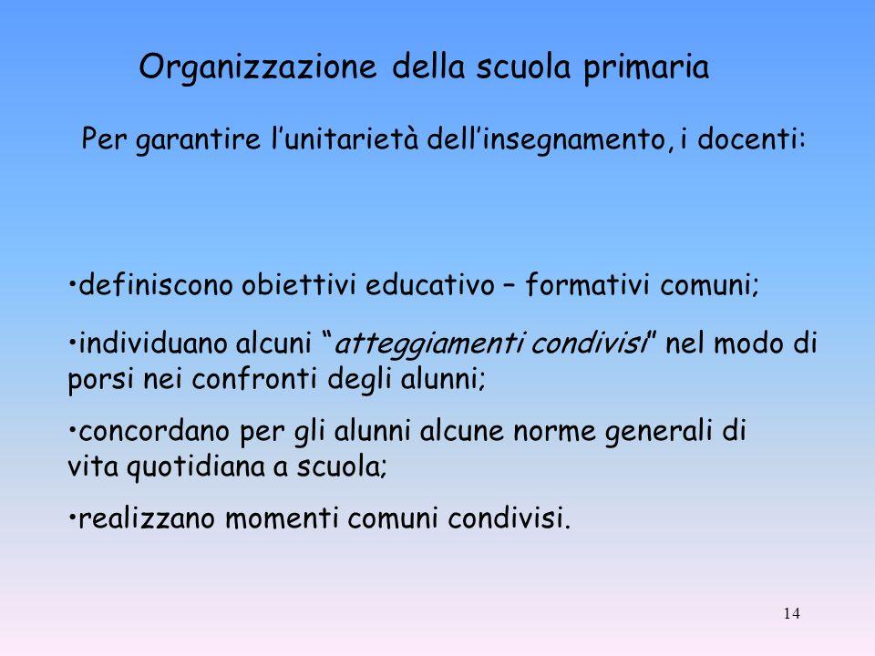 14 Organizzazione della scuola primaria realizzano momenti comuni condivisi.