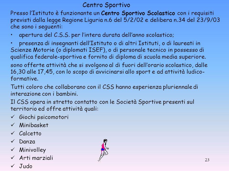 Presso lIstituto è funzionante un Centro Sportivo Scolastico con i requisiti previsti dalla legge Regione Liguria n.6 del 5/2/02 e delibera n.34 del 23/9/03 che sono i seguenti: apertura del C.S.S.