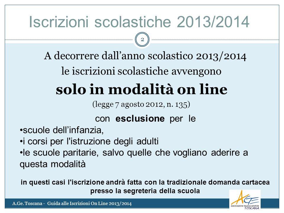 A decorrere dallanno scolastico 2013/2014 le iscrizioni scolastiche avvengono solo in modalità on line (legge 7 agosto 2012, n.