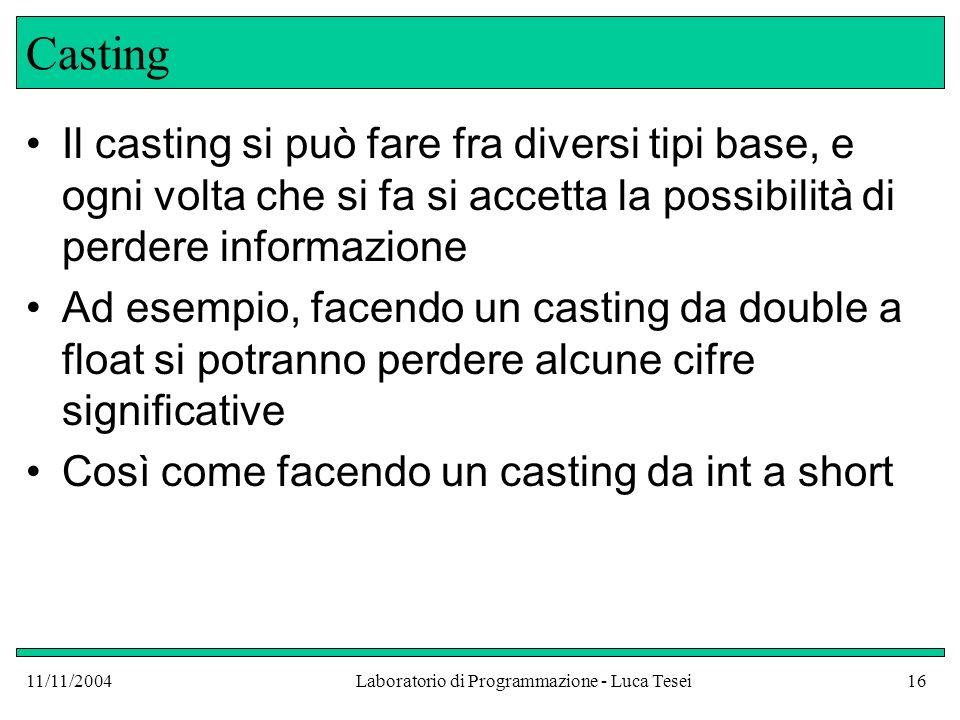 11/11/2004Laboratorio di Programmazione - Luca Tesei16 Casting Il casting si può fare fra diversi tipi base, e ogni volta che si fa si accetta la poss