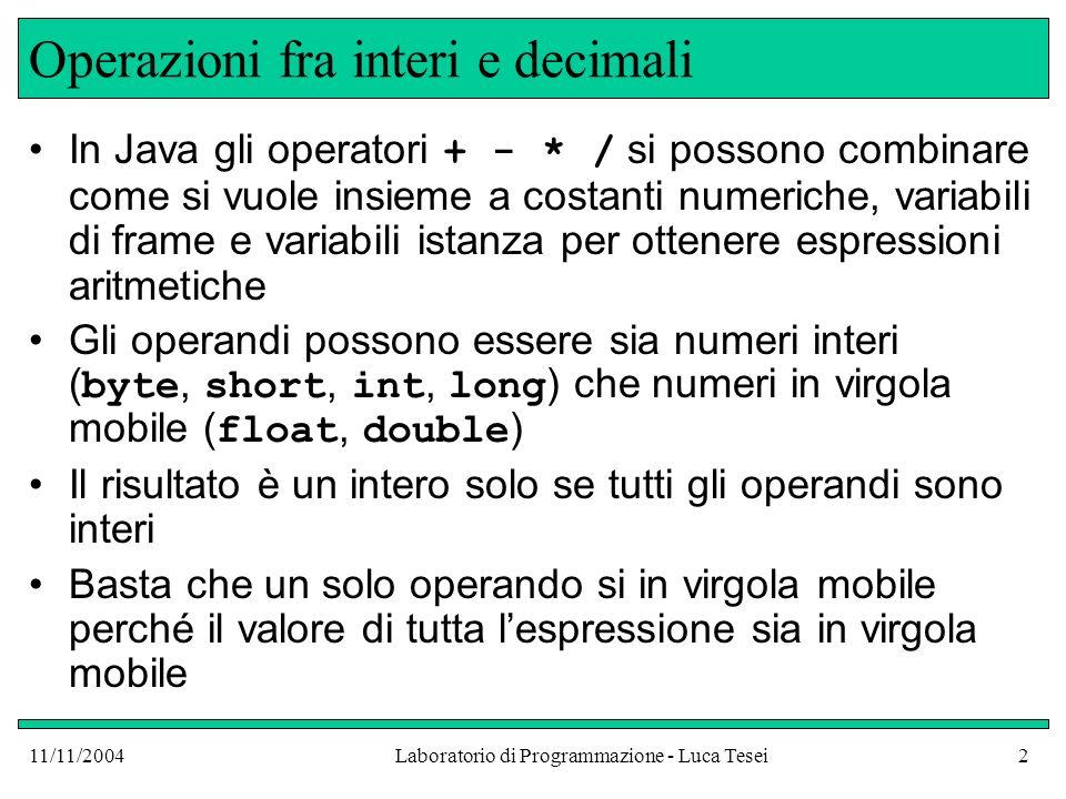 11/11/2004Laboratorio di Programmazione - Luca Tesei2 Operazioni fra interi e decimali In Java gli operatori + - * / si possono combinare come si vuole insieme a costanti numeriche, variabili di frame e variabili istanza per ottenere espressioni aritmetiche Gli operandi possono essere sia numeri interi ( byte, short, int, long ) che numeri in virgola mobile ( float, double ) Il risultato è un intero solo se tutti gli operandi sono interi Basta che un solo operando si in virgola mobile perché il valore di tutta lespressione sia in virgola mobile