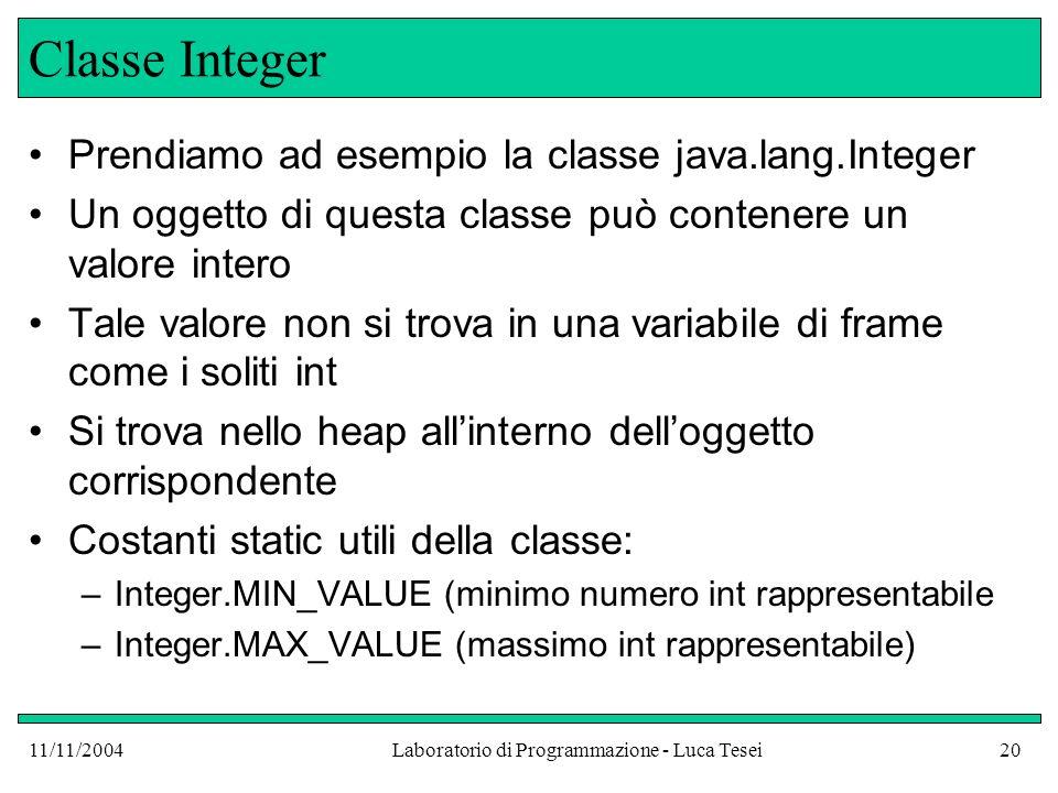 11/11/2004Laboratorio di Programmazione - Luca Tesei20 Classe Integer Prendiamo ad esempio la classe java.lang.Integer Un oggetto di questa classe può contenere un valore intero Tale valore non si trova in una variabile di frame come i soliti int Si trova nello heap allinterno delloggetto corrispondente Costanti static utili della classe: –Integer.MIN_VALUE (minimo numero int rappresentabile –Integer.MAX_VALUE (massimo int rappresentabile)