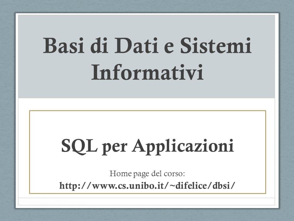 SQL per Applicazioni Per eseguire una query e processarne il risultato, sono disponibili le seguenti classi: Connection sessione di connessione ad uno specifico DBMS, il cui driver e gestito dal DriverManager.