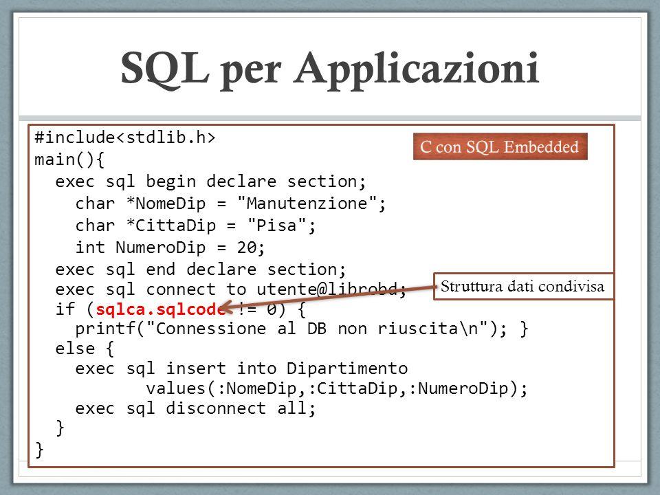 SQL per Applicazioni #include main(){ exec sql begin declare section; char *NomeDip =