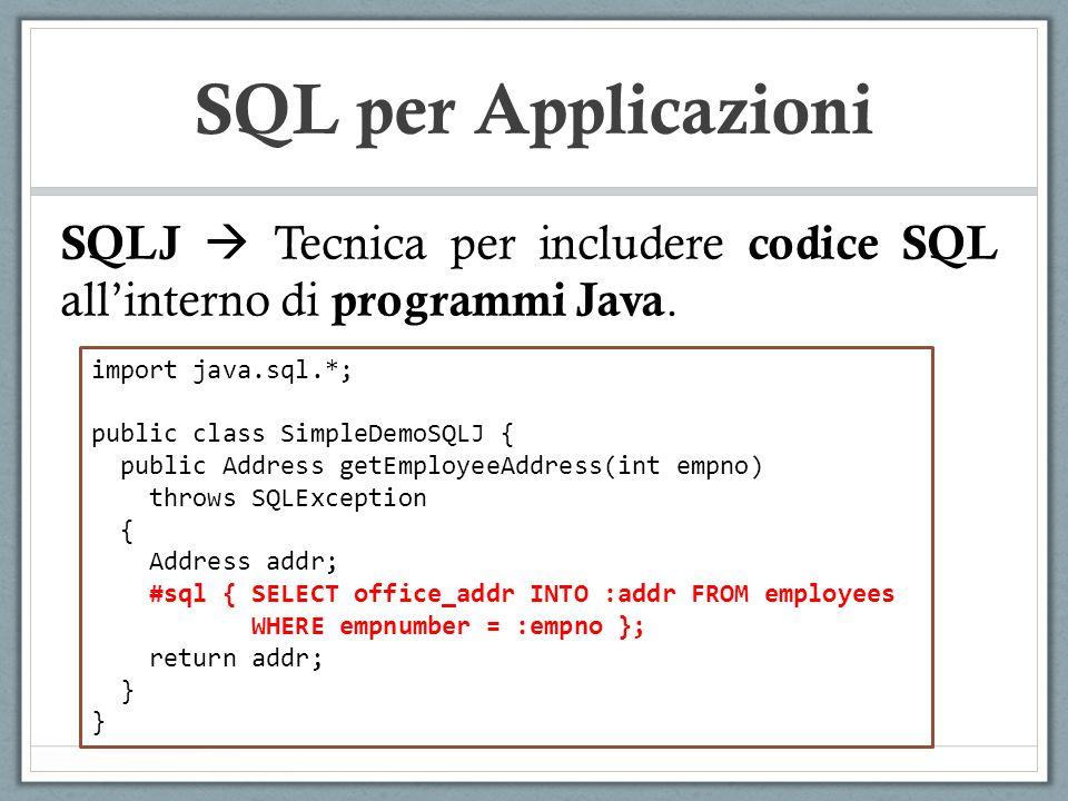 SQL per Applicazioni SQLJ Tecnica per includere codice SQL allinterno di programmi Java.