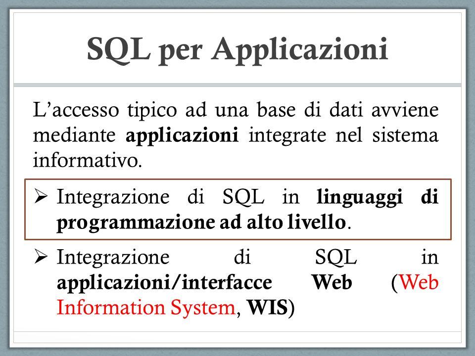 SQL per Applicazioni #include int main() { ECPGconnect(__LINE__, universita , pguser , pguser , NULL, 0); ECPGdo(__LINE__, NULL, create table studente ( matricola integer primary key, nome varchar ( 20 ), annodicorso integer ) , ECPGt_EOIT, ECPGt_EORT); ECPGdisconnect(__LINE__, CURRENT ); return 0; } CODICE PRE-COMPILATO