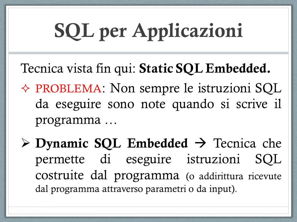 SQL per Applicazioni Tecnica vista fin qui: Static SQL Embedded. PROBLEMA : Non sempre le istruzioni SQL da eseguire sono note quando si scrive il pro