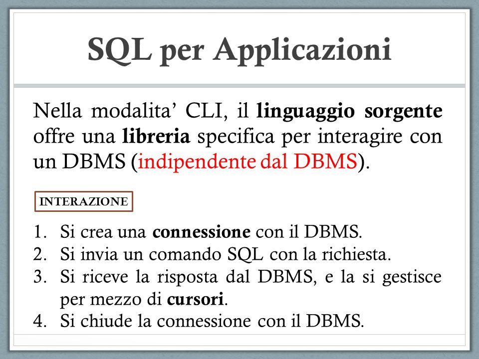 SQL per Applicazioni Nella modalita CLI, il linguaggio sorgente offre una libreria specifica per interagire con un DBMS (indipendente dal DBMS).