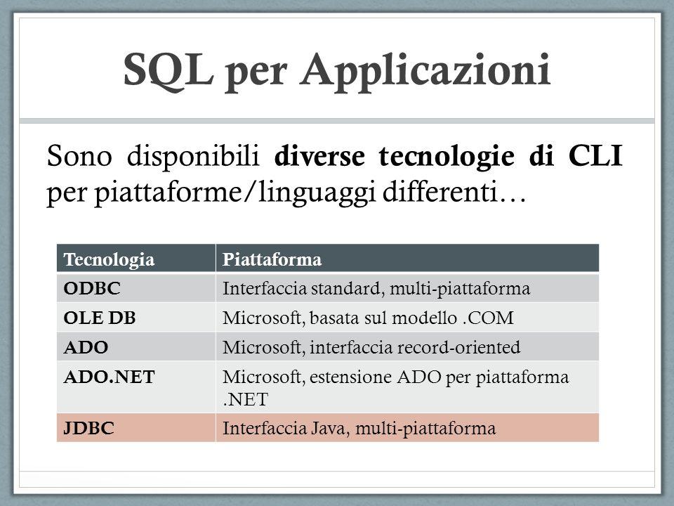 SQL per Applicazioni Sono disponibili diverse tecnologie di CLI per piattaforme/linguaggi differenti… TecnologiaPiattaforma ODBC Interfaccia standard, multi-piattaforma OLE DB Microsoft, basata sul modello.COM ADO Microsoft, interfaccia record-oriented ADO.NET Microsoft, estensione ADO per piattaforma.NET JDBC Interfaccia Java, multi-piattaforma