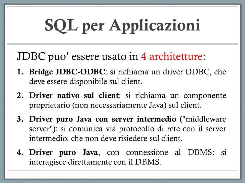 SQL per Applicazioni JDBC puo essere usato in 4 architetture: 1.