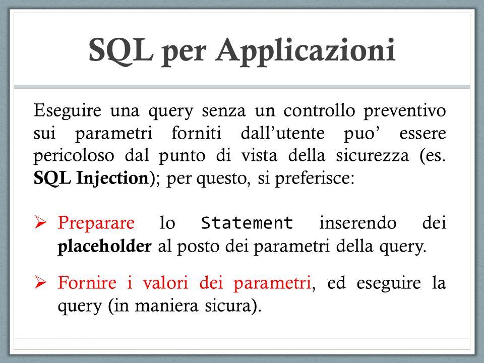 SQL per Applicazioni Eseguire una query senza un controllo preventivo sui parametri forniti dallutente puo essere pericoloso dal punto di vista della sicurezza (es.