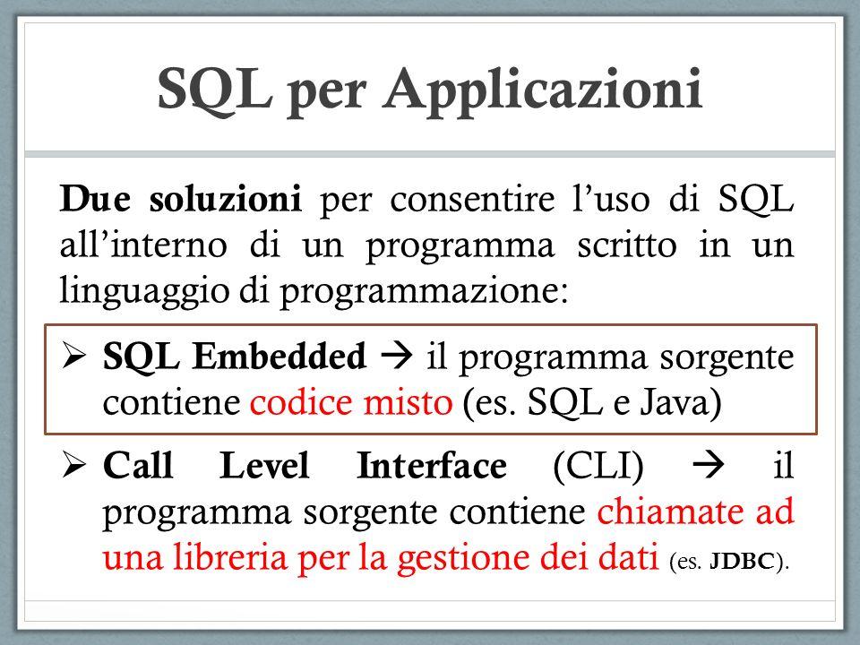 SQL per Applicazioni SQL Embedded Il programma contiene istruzioni SQL, distinte dalle istruzioni del linguaggio sorgente attraverso luso di separatori ( exec sql e ; ) In fase di compilazione, il preprocessore riconosce le istruzioni SQL e le sostituisce con opportune chiamate di libreria del DBMS.