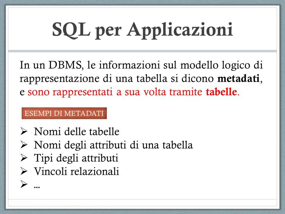 SQL per Applicazioni In un DBMS, le informazioni sul modello logico di rappresentazione di una tabella si dicono metadati, e sono rappresentati a sua volta tramite tabelle.