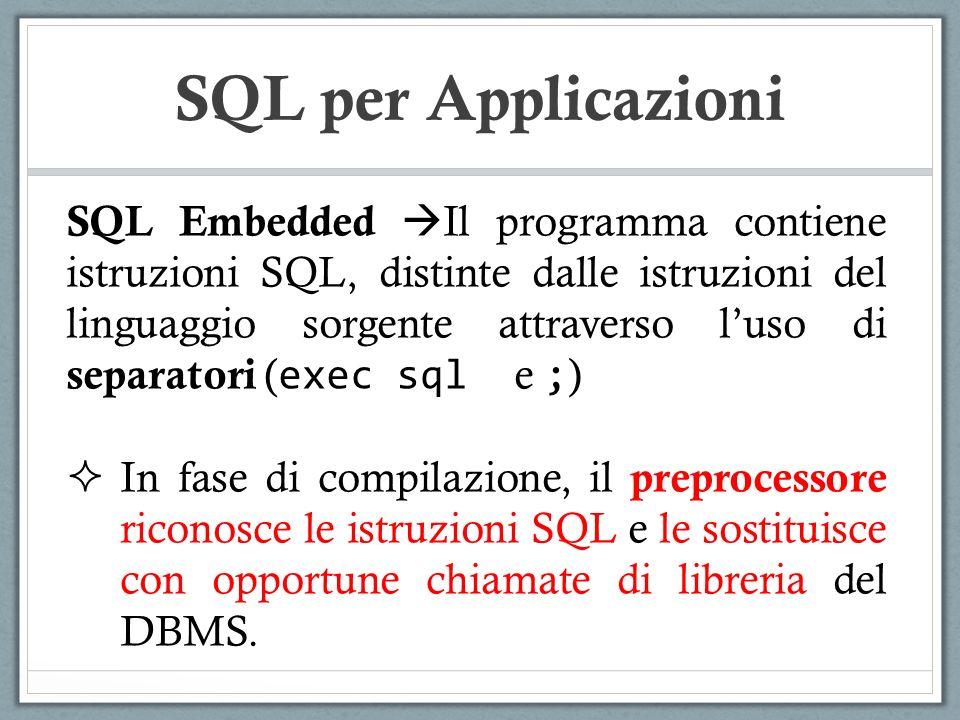 SQL per Applicazioni main() { int i; … exec sql insert into Impiegati values(Marco,20); … } PREPROCESSORE LIBRERIA ACCESSO DBMS