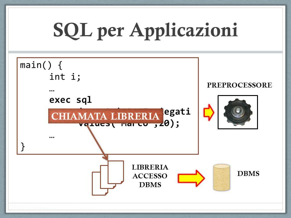 SQL per Applicazioni Data una riga del ResultSet, si possono utilizzare metodi tipizzati per accedere ad una specifica colonna, conoscendone l indice : Statement st=con.createStatement(); ResultSet rs=st.executeQuery(SELECT NOME, STIPENDIO FROM IMPIEGATI); while(rs.next) { System.out.println(rs.getString(1)); System.out.println(rs.getInt()); }