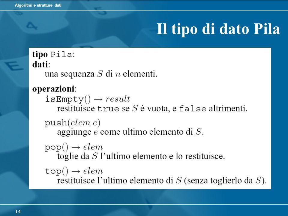 Algoritmi e strutture dati 14 Il tipo di dato Pila
