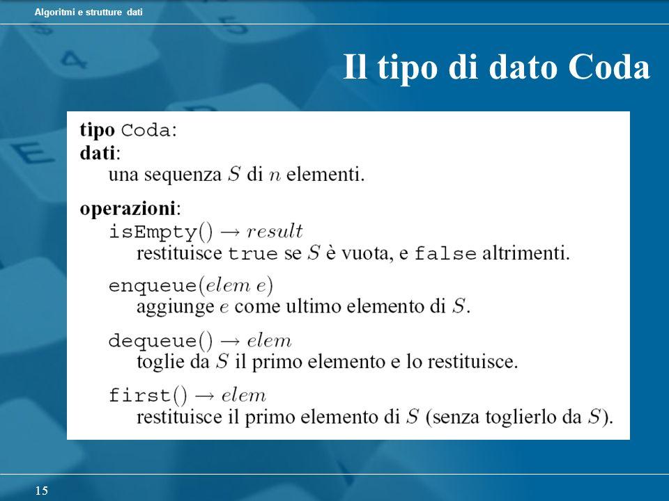 Algoritmi e strutture dati 15 Il tipo di dato Coda