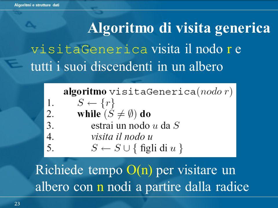 Algoritmi e strutture dati 23 Algoritmo di visita generica visitaGenerica visita il nodo r e tutti i suoi discendenti in un albero Richiede tempo O(n) per visitare un albero con n nodi a partire dalla radice