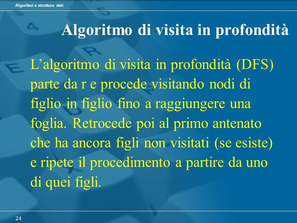 Algoritmi e strutture dati 24 Algoritmo di visita in profondità Lalgoritmo di visita in profondità (DFS) parte da r e procede visitando nodi di figlio in figlio fino a raggiungere una foglia.