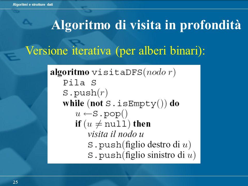 Algoritmi e strutture dati 25 Algoritmo di visita in profondità Versione iterativa (per alberi binari):