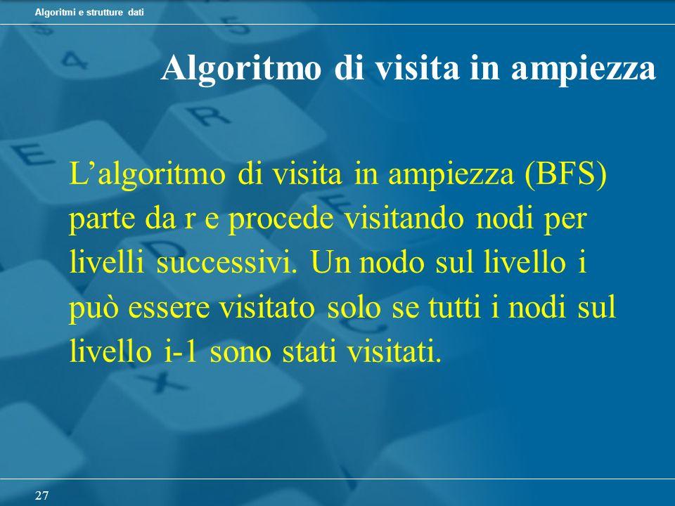 Algoritmi e strutture dati 27 Algoritmo di visita in ampiezza Lalgoritmo di visita in ampiezza (BFS) parte da r e procede visitando nodi per livelli successivi.
