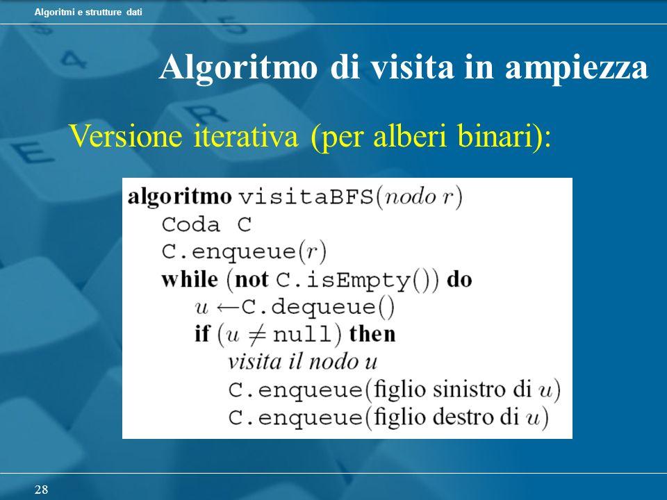 Algoritmi e strutture dati 28 Algoritmo di visita in ampiezza Versione iterativa (per alberi binari):