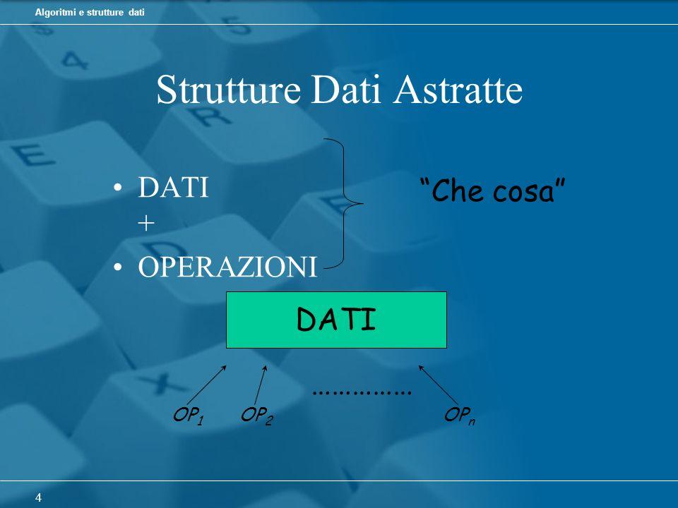 Algoritmi e strutture dati 4 Strutture Dati Astratte DATI + OPERAZIONI Che cosa DATI OP 1 OP 2 OP n ……………