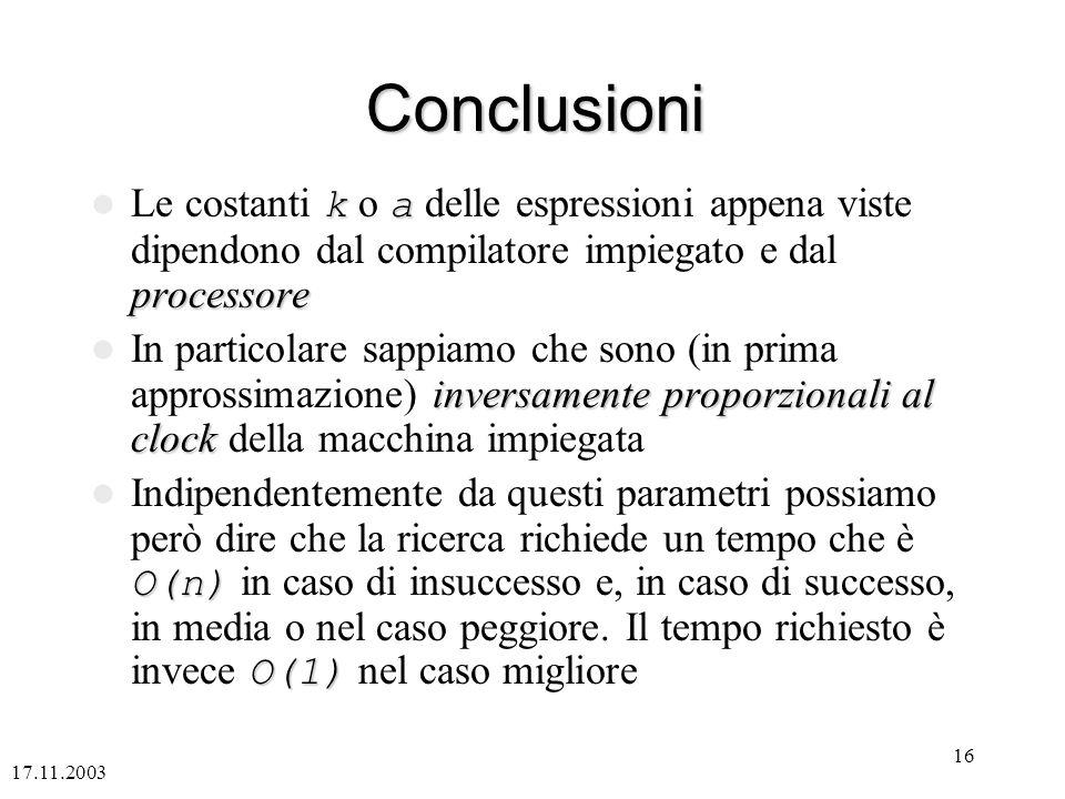 17.11.2003 16 Conclusioni ka processore Le costanti k o a delle espressioni appena viste dipendono dal compilatore impiegato e dal processore inversam