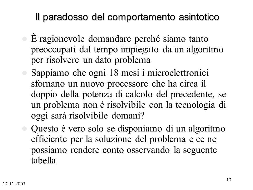17.11.2003 17 Il paradosso del comportamento asintotico È ragionevole domandare perché siamo tanto preoccupati dal tempo impiegato da un algoritmo per