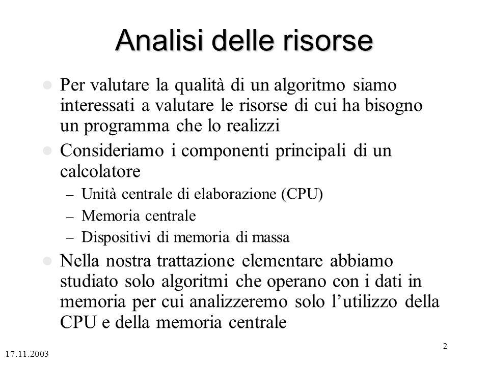 17.11.2003 2 Analisi delle risorse Per valutare la qualità di un algoritmo siamo interessati a valutare le risorse di cui ha bisogno un programma che