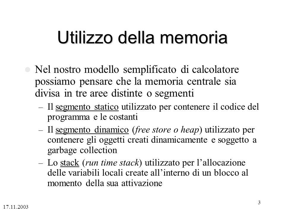 17.11.2003 3 Utilizzo della memoria Nel nostro modello semplificato di calcolatore possiamo pensare che la memoria centrale sia divisa in tre aree dis