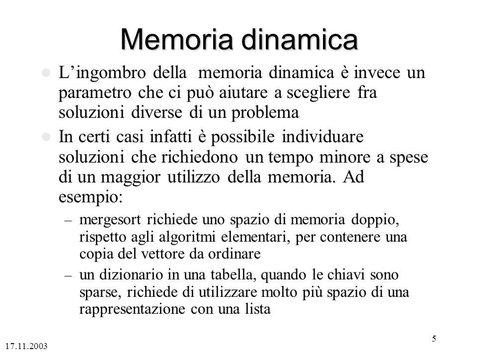 17.11.2003 5 Memoria dinamica Lingombro della memoria dinamica è invece un parametro che ci può aiutare a scegliere fra soluzioni diverse di un problema In certi casi infatti è possibile individuare soluzioni che richiedono un tempo minore a spese di un maggior utilizzo della memoria.